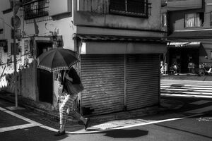 umbrella in front of shutter