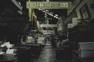 Deserted passage in Tsukiji Market