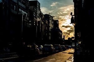 Cars in summer twilight