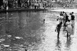 People taking ritual bath in the Godavari River
