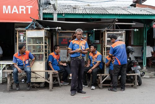Porters in front of Cirebon station