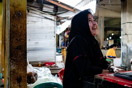Smiling woman wearing a hijab