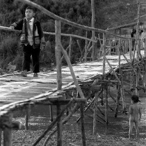 Bamboo bridge spanned over Nam Khan River