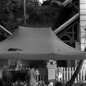 Food stall with the pierced roof