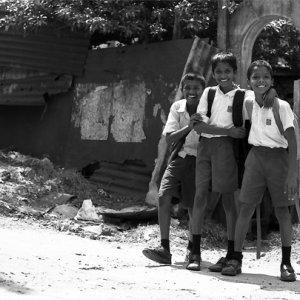 Schoolboys standing together