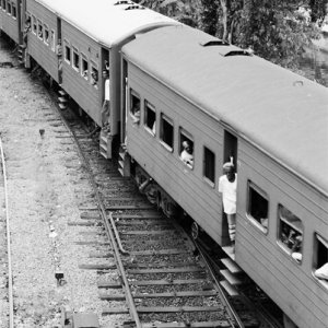 Train approaching Galle Railway Station