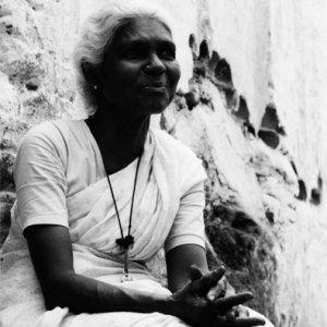 Woman wearing saree in lane