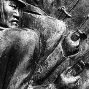 Japanese military polices sculptured on stone monument