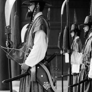 Re-enactments of Korean royal guards in Gyeongbokgung