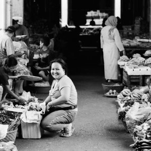 Woman buying happily
