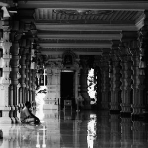 Shiny floor in Hindu temple