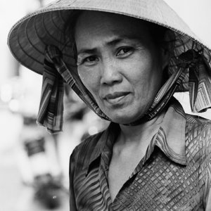 Woman with conical hat