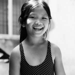 Girl smiling cheerfully