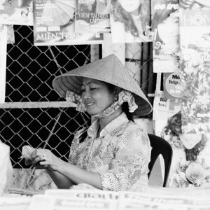 Young woman working in kiosk