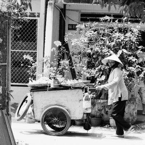 住宅街の中を売り歩く女性の行商人