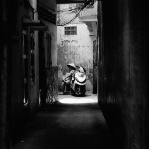 Motorbike in blind alley