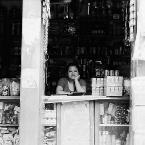 Woman sitting at counter