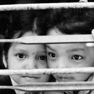 Kids looking through window lattice