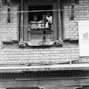 窓越しに往来を眺める子どもたち