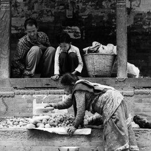 八百屋で働く女性