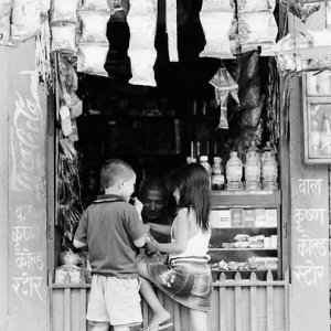 Boy and girl in candy store