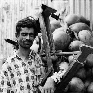 Man carrying big tool