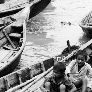 Little boys on ferryboat