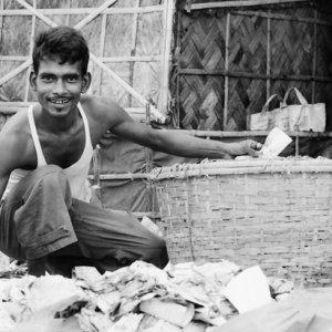 Man gathering rubbish