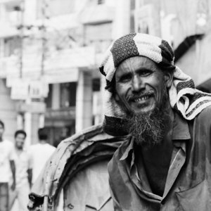 Rickshaw man with shaggy beard