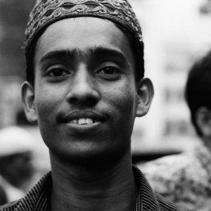 Man wearing embroidered Taqiyah