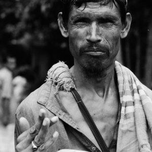 Man holding dish
