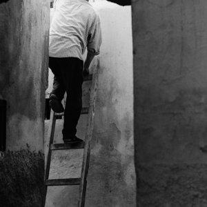 梯子の上に立つ男