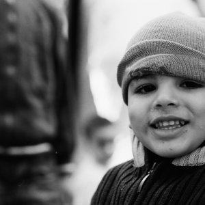 Boy wearing knit cap