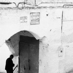 Man in front of door
