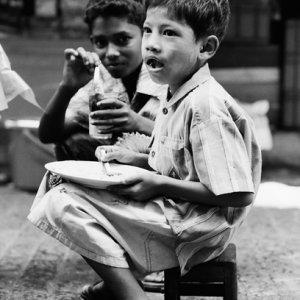 Boy having lunch