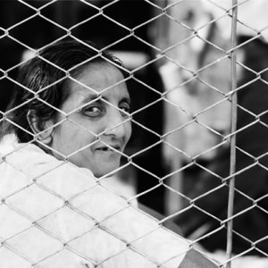 Woman sitting by wire netting