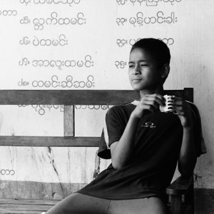 Boy drinking coffee