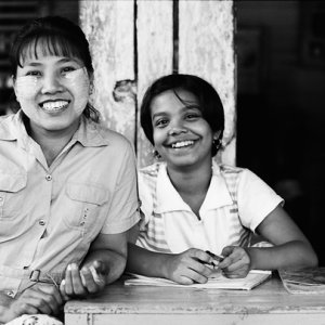 Woman and girl smiling