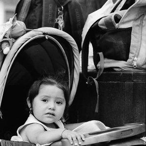 乳母車に乗った丸顔の赤ん坊