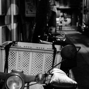 Motorbike in dim lane