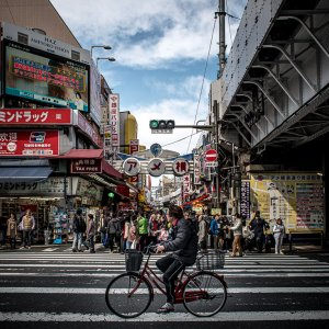 Bicycle running street
