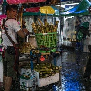 The man selling sugar cane juice