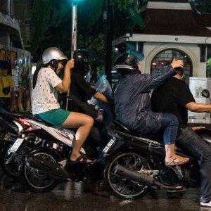 Motorbikes waiting at stoplights