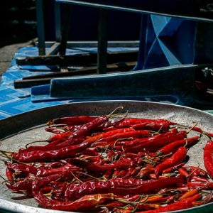 Red peppers being dried in sun in Khlong Toei Market