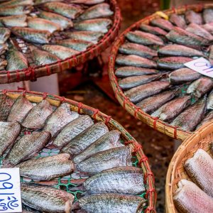 Dried fishes sold in Khlong Toei Market