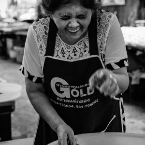 Woman laughing while pointing