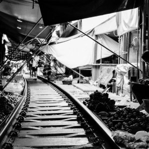 Railroad in the center of market