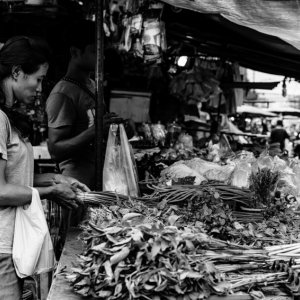 Woman picking vegetable up
