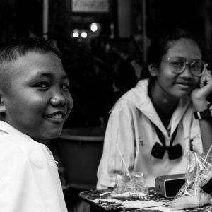 一緒にテーブルに就いていた男の子と女の子