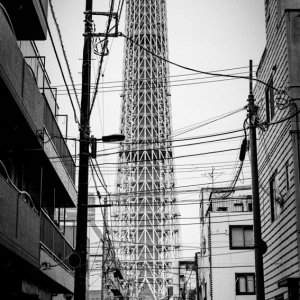 Tokyo Skytree at the end of the street